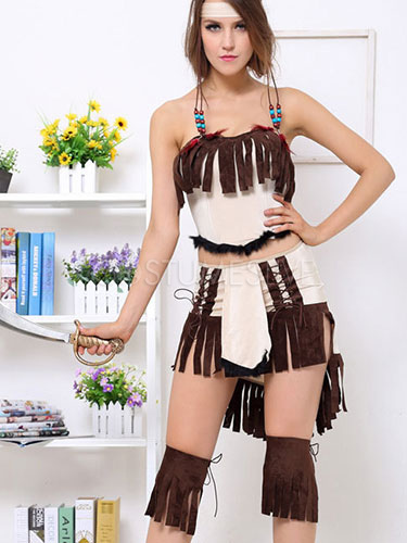 costume indien en pu havane pour femme. Black Bedroom Furniture Sets. Home Design Ideas