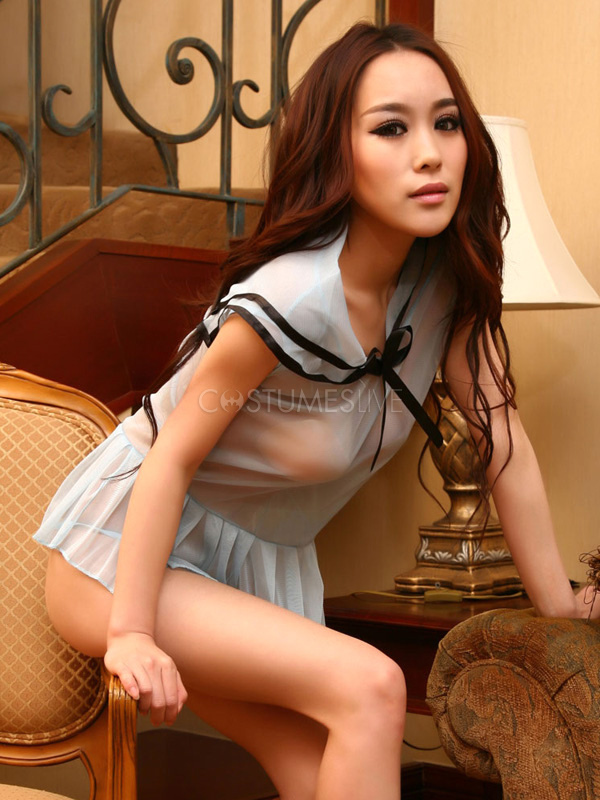 Halloween Blue Solid Color Sexy Bedroom Costume ...