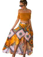 Rubio Boho faldas patrón geométrico alto bajo largas faldas mujeres