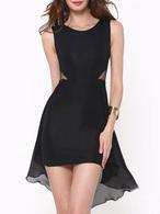 Patinador gasa vestido negro cuello redondo alto bajo vestido corto sin mangas