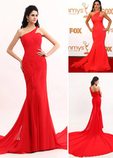 Red Sofia Vergara One-Shoulder Mermaid Trumpet Sweep Chiffon Emmy Awards Dress
