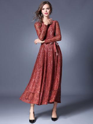 Vestido de encaje para fiesta europeo adornado con encaje con faja con escote redondo con manga larga