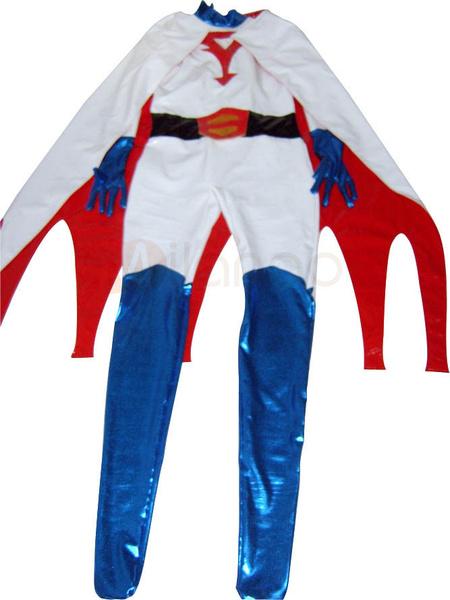 Белый ПВХ унисекс супер герой костюм с мыса
