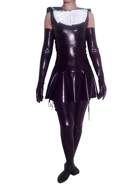 Halloween Maid Shiny Metallic Catsuit with Shoulder Length Gloves and Stockings фото