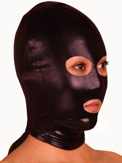 Halloween Shiny Metallic Black Mask with Eye and Mouth Openings фото