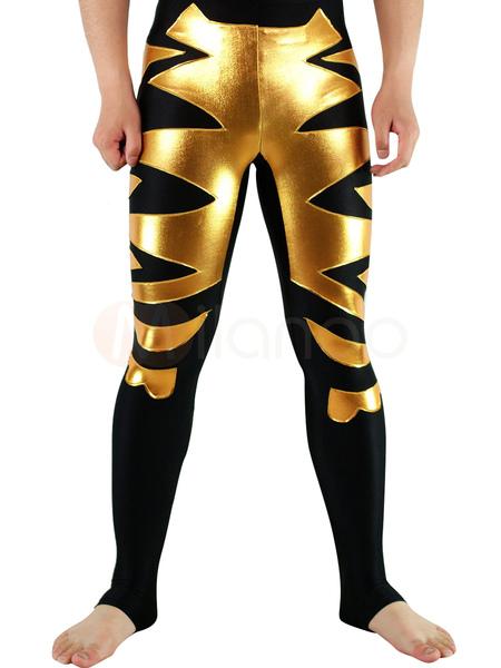 Halloween Black Lycra Spandex Wrestling Bottoms with Golden Pattern фото