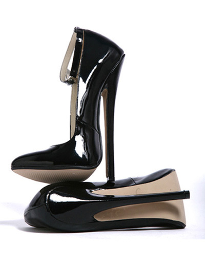7\'\' High Heel Black Ankle Strap Pump Shoes