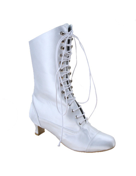 White Satin Lace Tie Wedding Boots