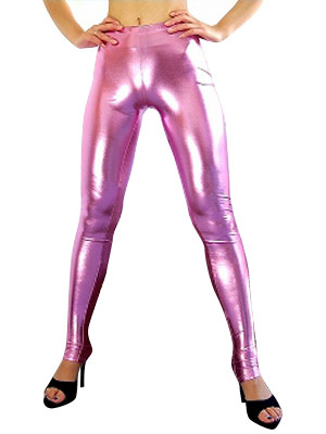 Halloween Women's Rose Pink Sexy Wrestling Pants Shiny Metallic Spandex Costume Halloween
