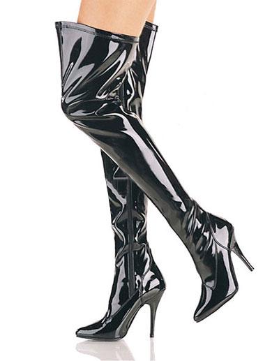 3 3/5\'\' High Heel Black Patent Thigh High Sexy Boots