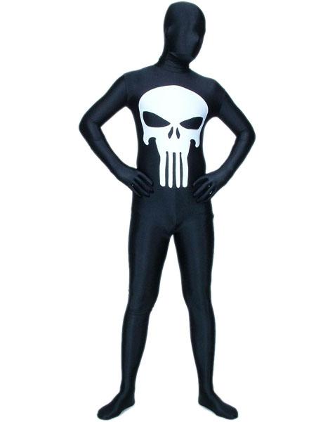 Halloween Black And White Lycra Spandex Unisex Zentai Suit фото