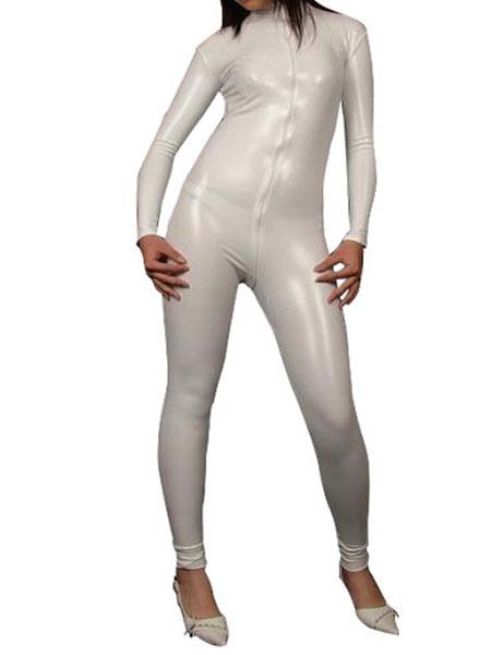 Sexy White Shiny Metallic Catsuit for Halloween фото