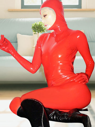 Halloween Red Full Body Latex Catsuit with Open Face фото
