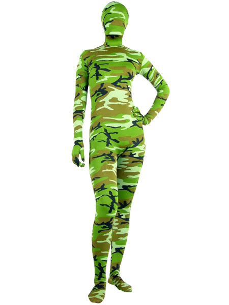 Halloween Green Camouflage Catsuit Zentai Lycra Spandex Unisex Bodysuit фото