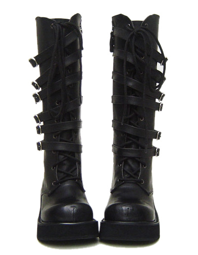 Matte Black Lolita Boots Straps Buckles Shoelace Platform фото