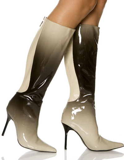 4 1/10'' Heel Soft Gradient Color Patent Leather Women's Ankle Mid Calf Boots фото