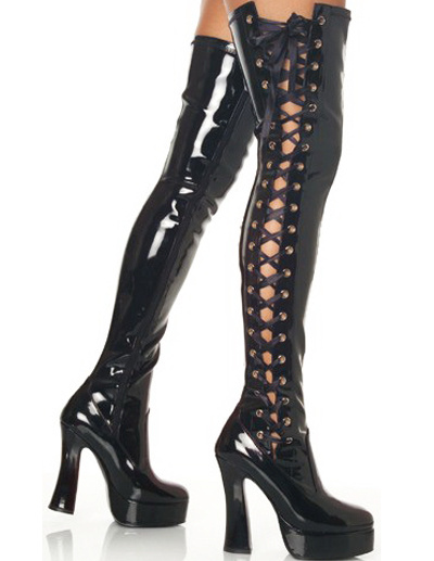Black 4 1/10\'\' High Heel Thigh High Patent Leather Sexy Boots фото