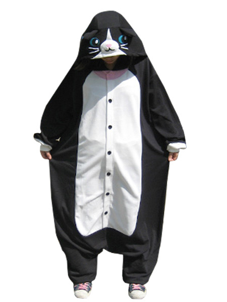 Kigurumi Pajamas Cat Onesie For Adult Black Animal Costume Halloween