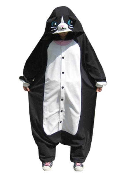Kigurumi Pajamas Cat Onesie For Adult Black Animal Costume фото