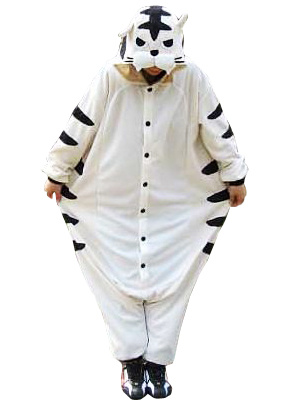 Kigurumi Pajamas Tiger Onesie For Adult White Animal Costume Halloween