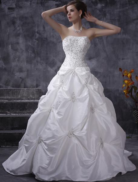 Milanoo Robes de mariée blanche robe de bal bretelles en taffetas ruché robe de mariée perles chapelle train robe de mariée - milanoo.com - Modalova