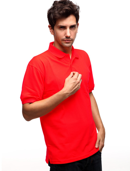 Handsome Red 60% Cotton 40% Polyester Turndown Collar Mens Polo Shirt