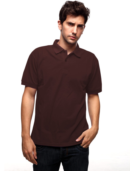 Coffee 60% Cotton 40% Polyester Short Sleeves Mens Polo Shirt