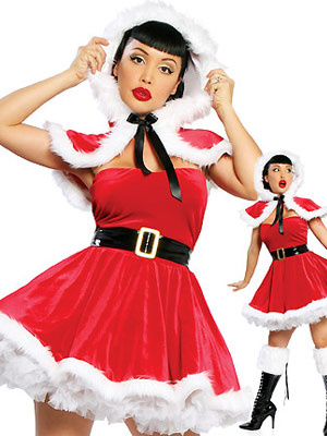 Sexy Christmas Costume Red Velvet Skater Dress In 4 Piece Set