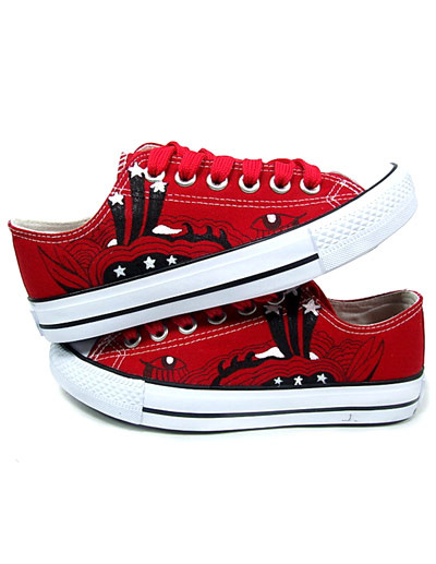 Eye-Catching Red Rubber Soles Canvas Flat Shoes For Women фото