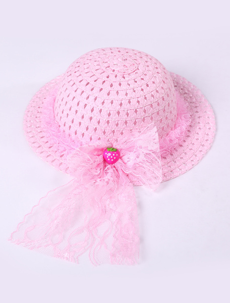 Popular Pink Lace Trim Weaved Hat Girls Barbie Costumes