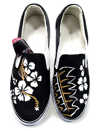 Unique Black Canvas TPR Sole White Flower Scrawl Womens Painted Shoes