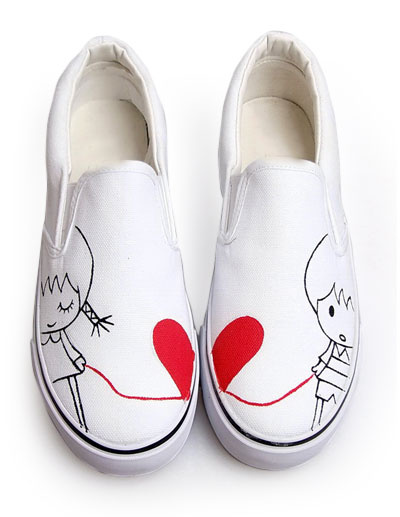 White Love Line Canvas TPR Sole Womens Painted Shoes