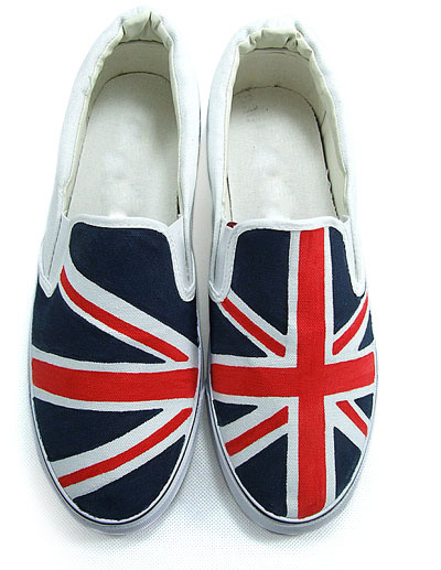 Union Jack Canvas Womens Painted Shoes