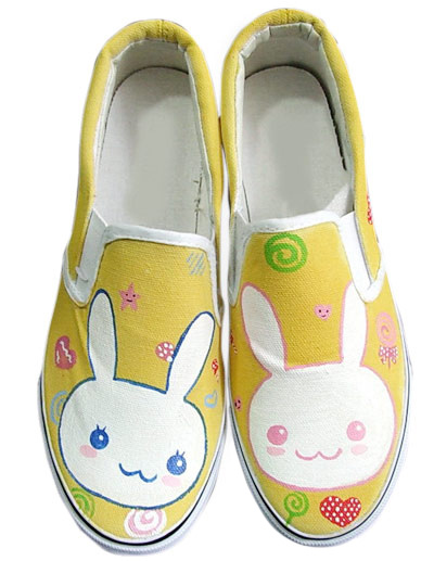 Adorable Yellow TPR Sole Painted Shoes