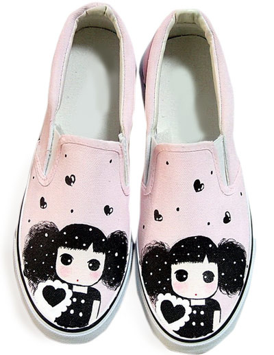 Attractive Pink Girl Scrawl Canvas TPR Sole Womens Painted Shoes