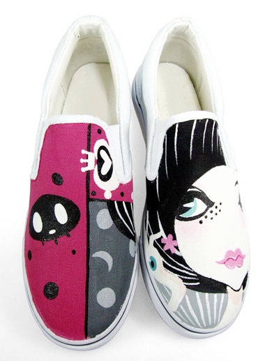 White Sister Princess Canvas TPR Sole Womens Painted Shoes