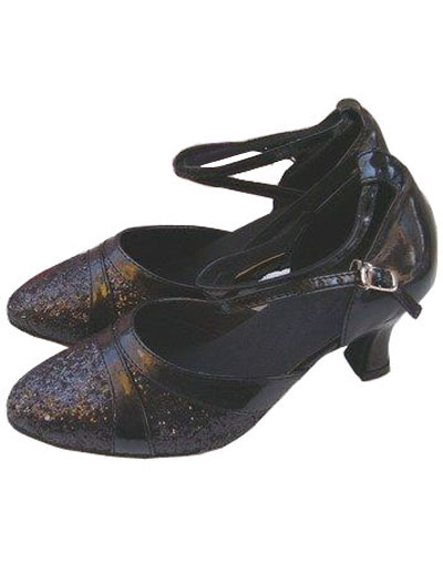 Elegant Black PU Leather 2 3/5'' High Heel Womens Latin Shoes