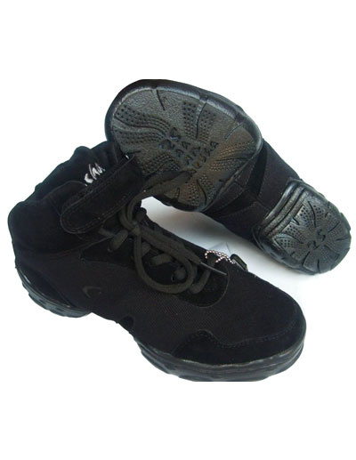 Trendy Black Canvas Mesh Plastic Sole Womens Jazz Shoes фото
