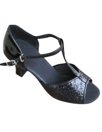 Black PU Cowhide Bottom 1 1/5'' High Heel Womens Latin Shoes