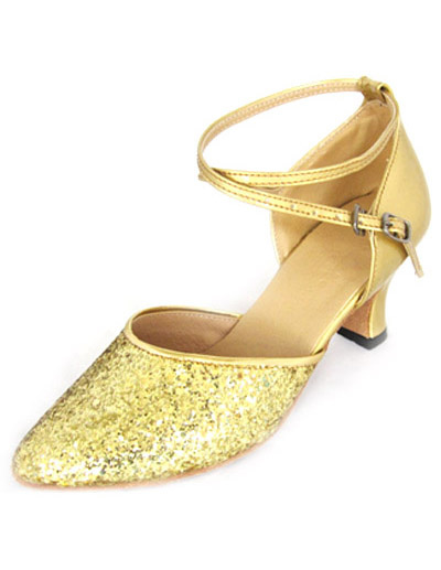 Trendy Golden PU Cowhide 2 3/4'' High Heel Womens Latin Dance Shoes