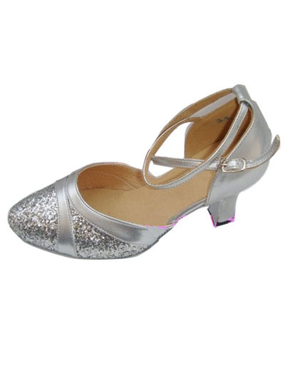 Chic Silver PU Cowhide 2 3/4'' High Heel Womens Latin Dance Shoes
