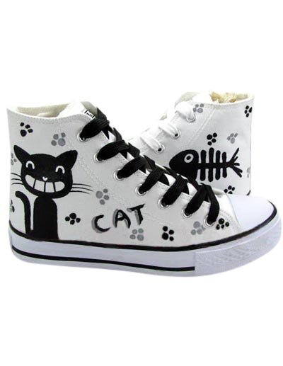 Fashional White Canvas Cat Fish Lace-Up Ladies Painted Shoes