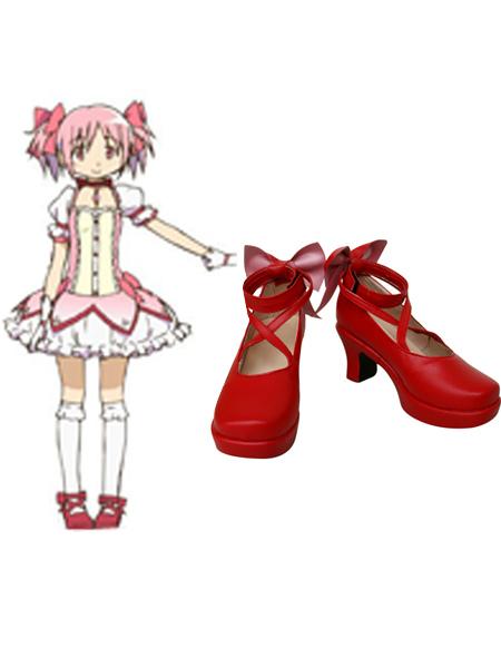 Kaname Madoka Puella Magi Madoka Magica Faux Leather Cosplay Shoes