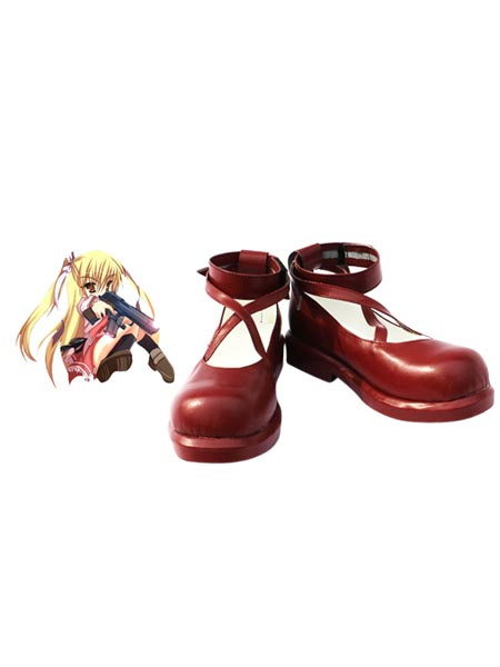 Red 1 1/5 Heel Riko Mine Aria the Scarlet Ammo Faux Leather Cosplay Shoes