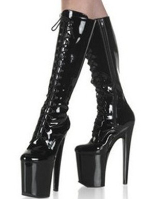 Black 7 9/10 High Heel 3 1/2 Platform Light Patent Leather Lace-Up Womens Sexy Boots фото