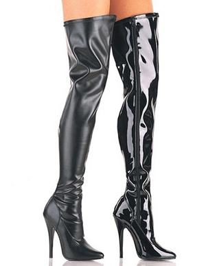 Attractive Black 4 1/10 High Heel Pointed Toe Patent Leather Sexy Boots For Women
