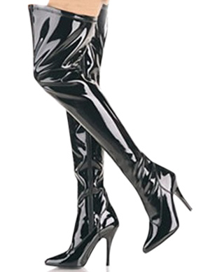 Black 4 1/10 High Heel Patent Leather Over the Knee Womens Sexy Boots фото