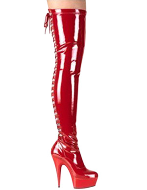 Red 5 7/10 High Heel 1 7/10 Platform Patent Leather Over the Knee Sexy Boots For Women фото