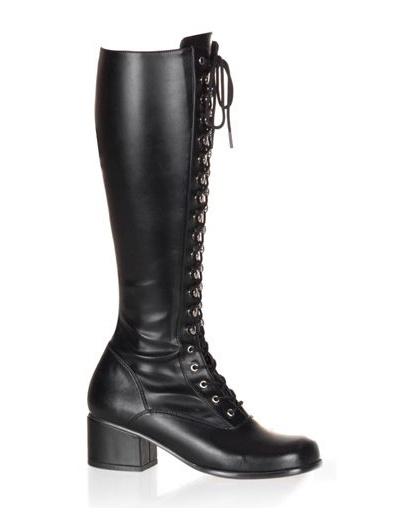 Damen Schnür-Stiefel aus PU im Pumk-Stil mit Blockabsätzen in Schwarz