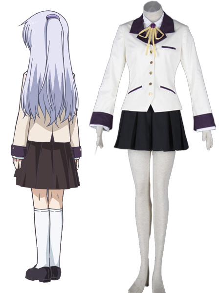 Angel Beats Angel Kanade Tachibana Halloween Cosplay Costume School Uniform